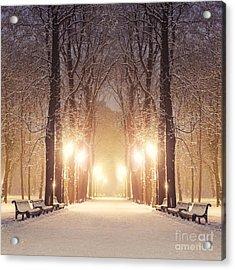 Footpath In A Fabulous Winter City Park Acrylic Print