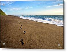 Footprints In Lost Coast Sand Acrylic Print