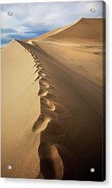 Footprints On Sand Dunes Acrylic Print
