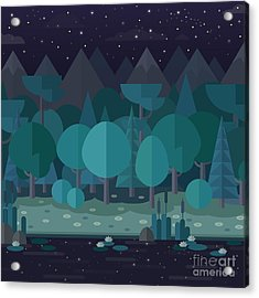 Forest Landscape In A Flat Style In The Acrylic Print