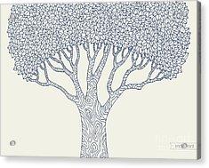 Forest Oak Tree Isolated. Vector Botany Acrylic Print