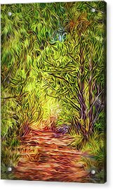 Acrylic Print featuring the digital art Forest Trail Journey by Joel Bruce Wallach