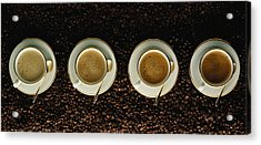 Four Cups Of Cappuccino Resting On Acrylic Print