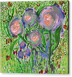Four Pink Flowers In Green Acrylic Print