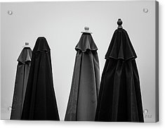 Acrylic Print featuring the photograph Four Umbrellas Bw by David Gordon