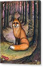 Acrylic Print featuring the painting Fox In The Woods by Katherine Miller