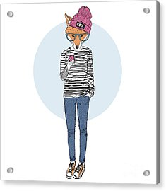Fox Teen Girl Dressed Up In Urban Style Acrylic Print