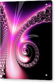 Acrylic Print featuring the photograph Fractal Spiral Pink Purple And Black by Matthias Hauser