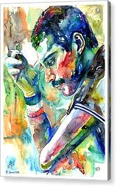 Freddie Mercury With Cigarette Acrylic Print