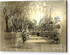 Freehand Sketch Of City Park Acrylic Print