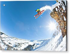 Freestyle Skier Jumping Off Cliff Acrylic Print