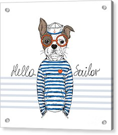French Bulldog Sailor, Nautical Acrylic Print