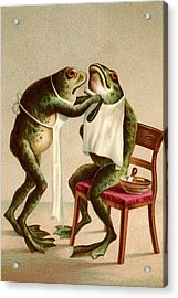 Frog Getting A Shave Acrylic Print by Graphicaartis
