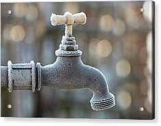 Frost On Faucet, Water Tap, Switzerland Acrylic Print by Brigitte Blättler