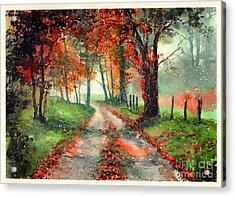 Frosty Autumn Patch Acrylic Print