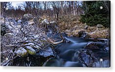 Frozen River And Winter In Forest Acrylic Print
