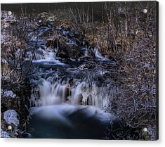 Frozen River In Forest - Long Exposure With Nd Filter Acrylic Print