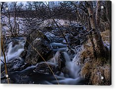 Frozen Stream In Winter Forest Acrylic Print