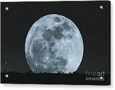 Full Moon At Night With Stars With Acrylic Print