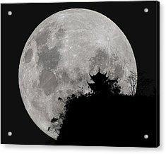 Acrylic Print featuring the photograph Full Moon Behind Clifftop Gazebo In Chengdu China by William Dickman