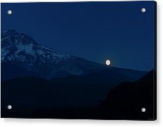 Full Moon On Mt. Hood Flanks Acrylic Print