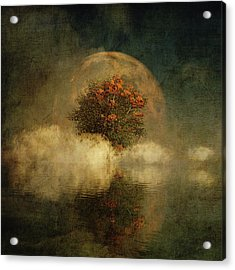 Full Moon Over Misty Water Acrylic Print