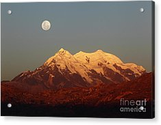 Full Moon Rise Over Mt Illimani Acrylic Print