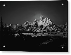 Full Moon Sets In The Tetons Acrylic Print