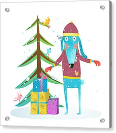 Fun Winter Holiday Rabbit For Kids With Acrylic Print