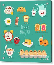 Funny Breakfast Set. Comic Characters Acrylic Print
