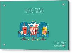 Funny Characters Cola, Ticket, Popcorn Acrylic Print