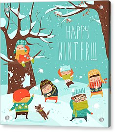 Funny Kids Playing Snowball Fight Acrylic Print