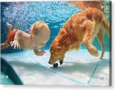 Funny Little Child Play With Fun And Acrylic Print by Tropical Studio
