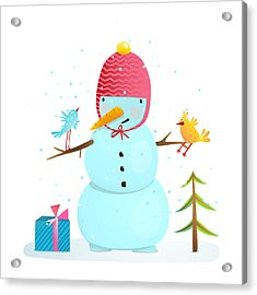 Funny Snowman With Birds Present And Acrylic Print