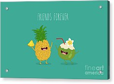 Funny Tropical Fruits. Pineapple And Acrylic Print