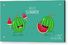 Funny Watermelon Eating A Piece Of Acrylic Print