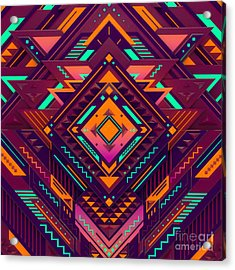 Futuristic Colorful Pattern. Triangles Acrylic Print