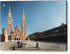 Garbage Cleaners On Dom Square In Szeged  Acrylic Print