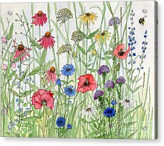Garden Flower Medley Watercolor Acrylic Print