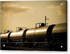 Gasoline Train At Sunset Acrylic Print