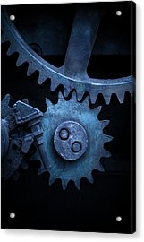 Gears On End Blue Filter Acrylic Print