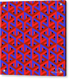 Geometric Optical Art Background In Red Acrylic Print