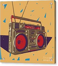 Ghetto Blaster Boombox Graphic Acrylic Print by Iz Stock Works