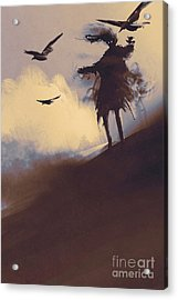 Ghost With Flying Crows In The Acrylic Print