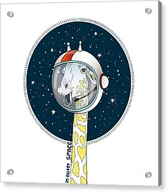 Giraffe In Outer Space, Hand Drawn Acrylic Print