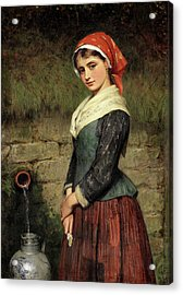 Girl By A Well Acrylic Print