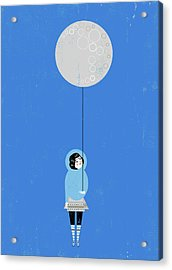 Girl Holding Full Moon Balloon Acrylic Print