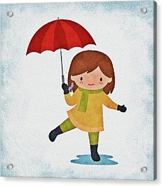 Girl In The Rain Acrylic Print