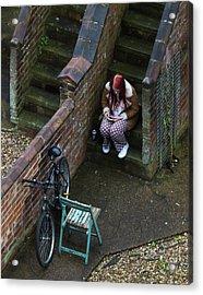 Girl On A Phone Acrylic Print