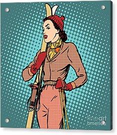 Girl Retro Skier Pop Art Retro Style Acrylic Print
